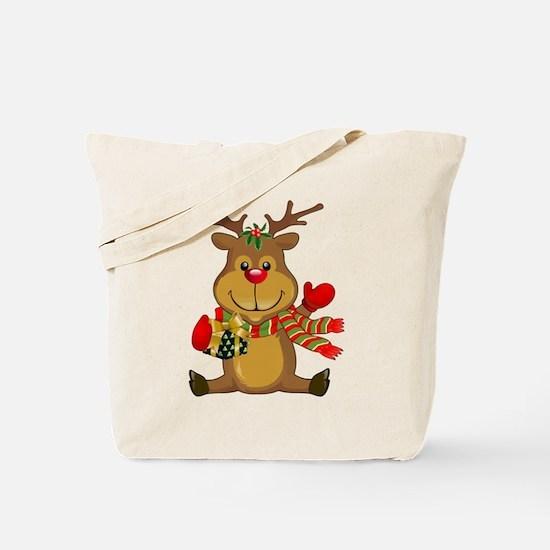 Sitting Reindeer w Package Scarf Tote Bag