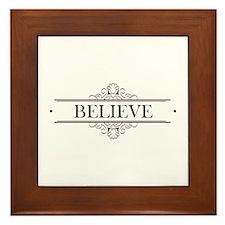 Believe Calligraphy Framed Tile