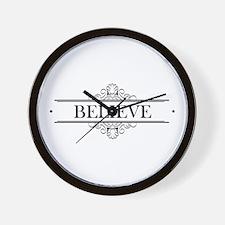 Believe Calligraphy Wall Clock