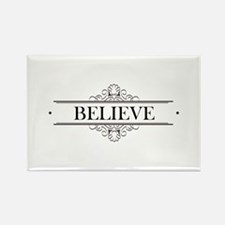 Believe Calligraphy Rectangle Magnet