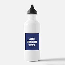 Custom Sports Text Blue White Water Bottle