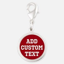 Custom Sports Text Red White Charms