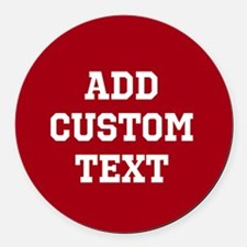 Custom Sports Text Red White Round Car Magnet