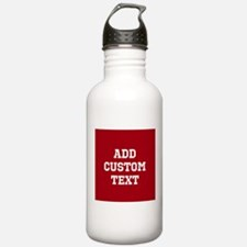 Custom Sports Text Red White Water Bottle