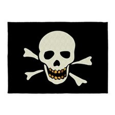 Skull With Gold Teeth 5'x7'Area Rug