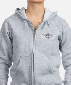 Courage Calligraphy Zip Hoodie
