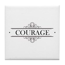 Courage Calligraphy Tile Coaster