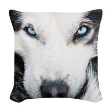 Blue Eyed Husky Woven Throw Pillow