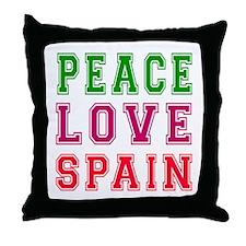 Peace Love Spain Throw Pillow