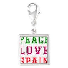 Peace Love Spain Silver Square Charm
