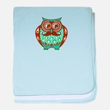 Fat Owl with Mustache baby blanket