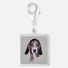 Beagle Puppy Walking Silver Square Charm