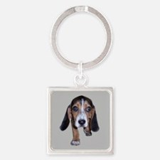 Beagle Puppy Walking Square Keychain