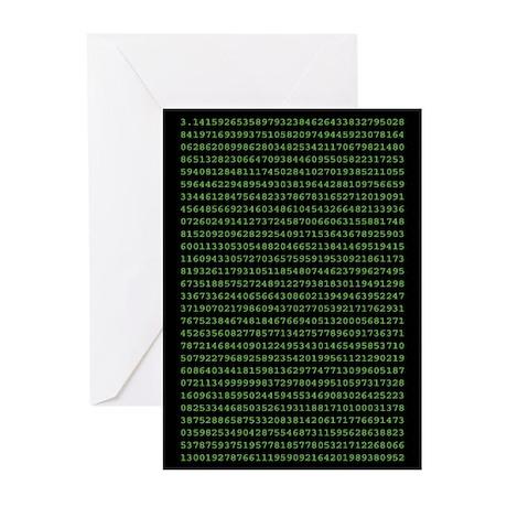Pi to 1000 Places, Matrix Green, GreetingCards (6)