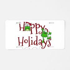 Hoppy Holidays - Frogs Aluminum License Plate