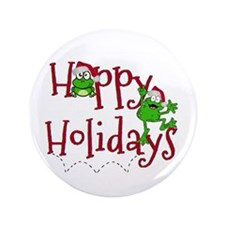 "Hoppy Holidays - Frogs 3.5"" Button"