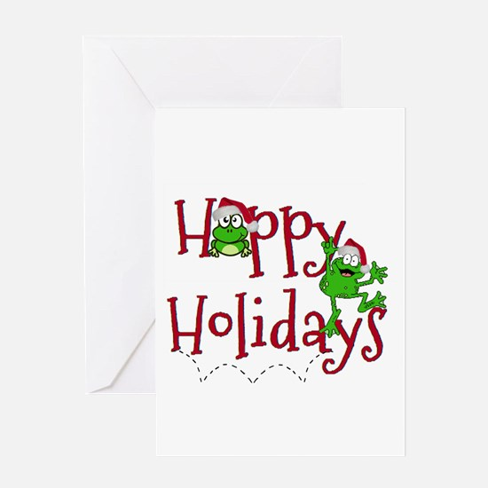Hoppy Holidays - Frogs Greeting Cards