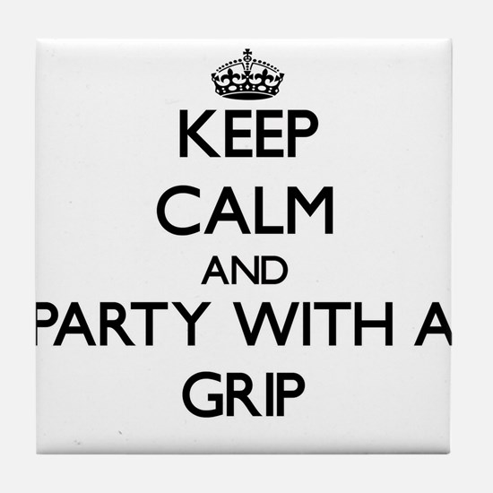 Keep Calm and Party With a Grip Tile Coaster