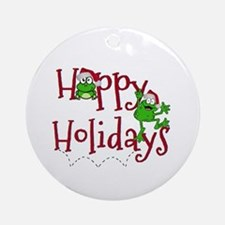 Hoppy Holidays - Frogs Ornament (Round)