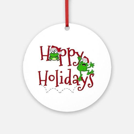 Hoppy Holidays - Frogs Ornament (Round)