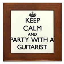 Keep Calm and Party With a Guitarist Framed Tile
