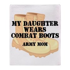 Army Mom Daughter Desert Combat Boots Throw Blanke