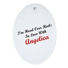 In Love with Angelica Oval Ornament