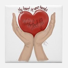 My Heart in Your Hands Tile Coaster