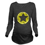 Yellow Emo Star Long Sleeve Maternity T-Shirt