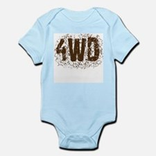 4WD. Four wheel drive saying in mud Infant Bodysui