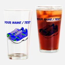 Custom Blue Running Shoes Drinking Glass