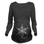 White Snowflake Long Sleeve Maternity T-Shirt