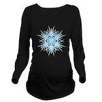 Blue Snowflake Long Sleeve Maternity T-Shirt
