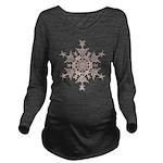 Brown Snowflake Long Sleeve Maternity T-Shirt