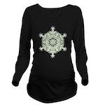 Green Snowflake Long Sleeve Maternity T-Shirt