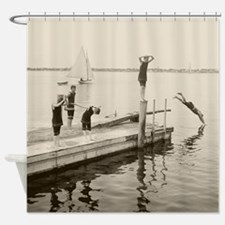 Diving Off The Pier, 1904 Shower Curtain