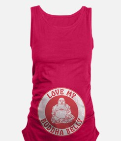 Red Love My Buddha Belly Maternity Tank Top