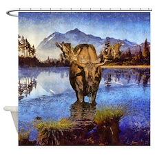 Mt Shuksan Moose Shower Curtain