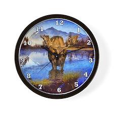 Mt Shuksan Moose Wall Clock
