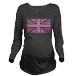 Pink Union Jack Long Sleeve Maternity T-Shirt