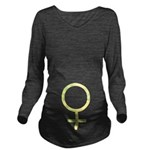Yellow Female Symbol Long Sleeve Maternity T-Shirt