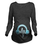 Blue Headphones Long Sleeve Maternity T-Shirt