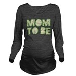 Green Folded Mom To Be Long Sleeve Maternity T-Shi