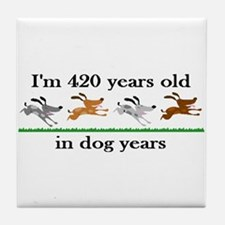 60 birthday dog years 2 Tile Coaster