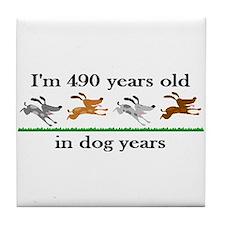70 dog years birthday 2 Tile Coaster