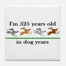75 dog years birthday 2 Tile Coaster