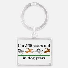 80 dog years birthday 2 Keychains