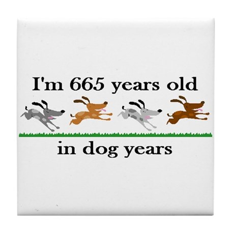 95 dog years birthday 2 Tile Coaster
