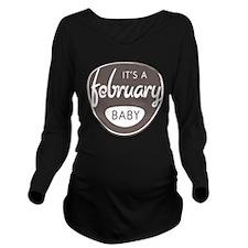 Grey February Long Sleeve Maternity T-Shirt