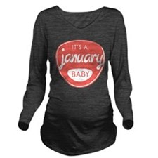 Salmon January Long Sleeve Maternity T-Shirt